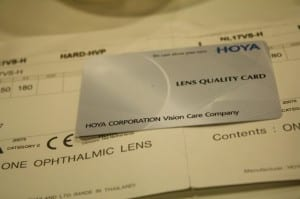 Hoya Multifocal Warranty Card